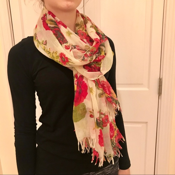 0cf7bff668a2 Charming Charlie Accessories | Pink And Cream Floral Scarf | Poshmark